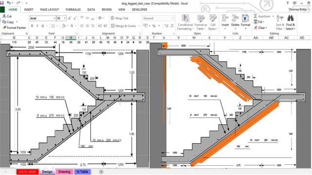 Excel Spreadsheet For Rcc Dog Legged Staircase