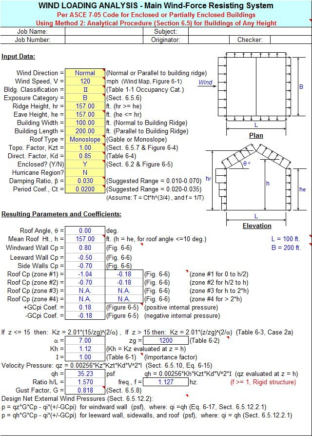 Wind Loading Calculator Sheet Per Asce 7 05 Code