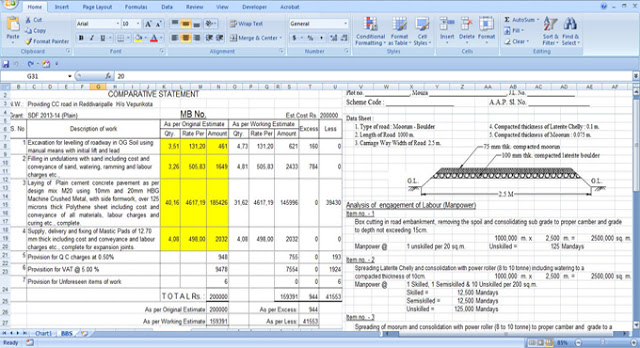 road construction estimating EXCEL spreadsheet